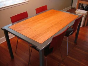 cherry, furniture, dining table, steel, diner, chairs, kitchen, house, interior