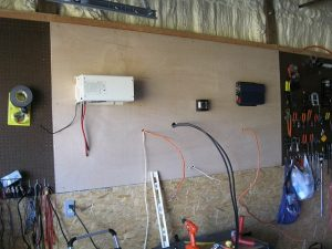 panel, electric, cables, basement, garage, plywood, insulation, wood