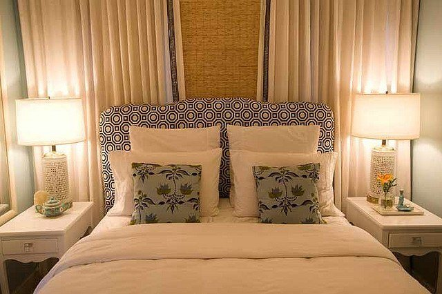 bed, headboard, pillows, room, light, fabric