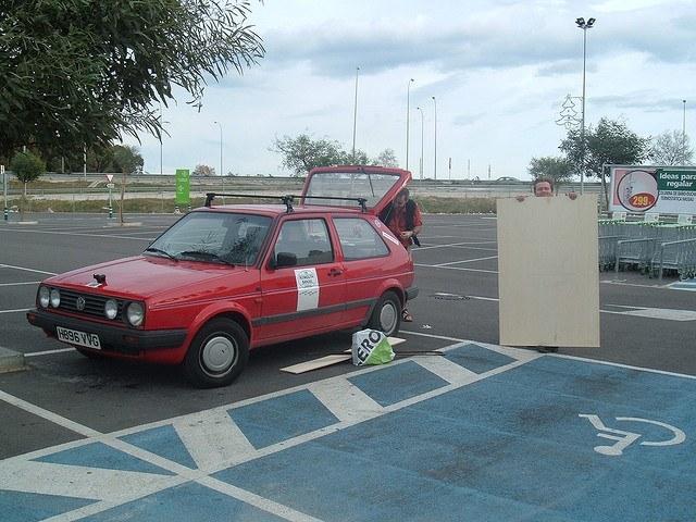 car, golf, man, plywood, panel, parking
