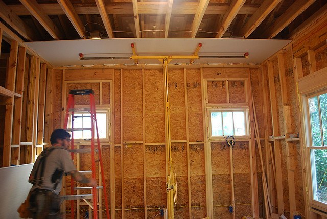 Osb Board Wall Structure Room House Drywall Installing