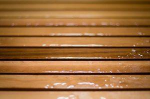 wood, slats, wet, water, brown