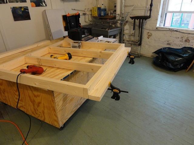 wooden, workbench, work