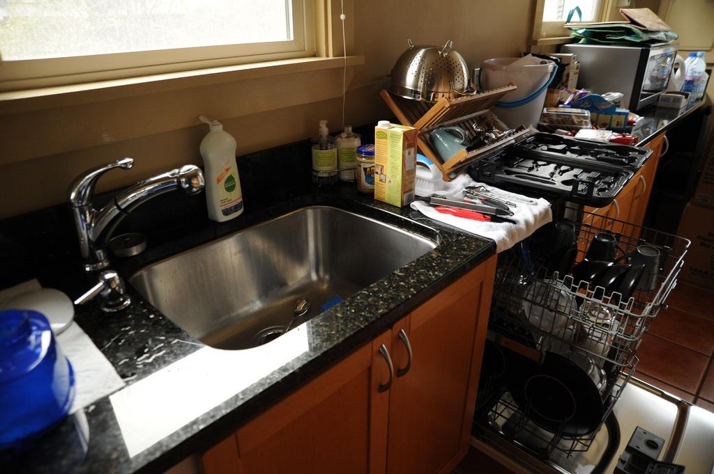 dish drainer, kitchen, kitchen sink, countertop