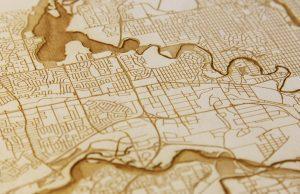 laser, engraved, map, wood