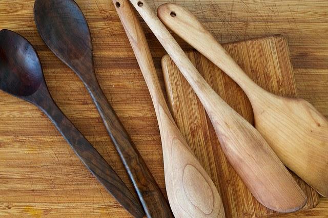 wooden utensils, wood, kitchen, wax