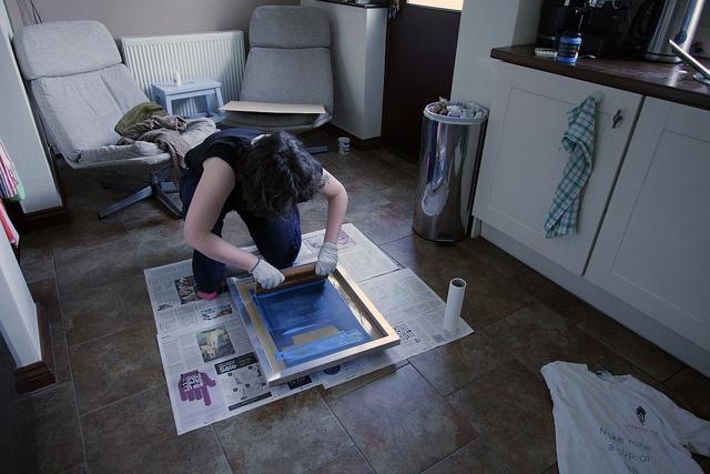 t-shirt, printing, plywood, man, working
