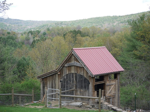 goat barn, wooden, hill, nature