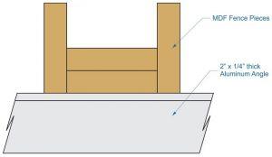 table saw fence, sketch, mdf fence