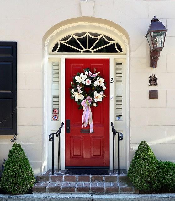 red door, arched doorway, house