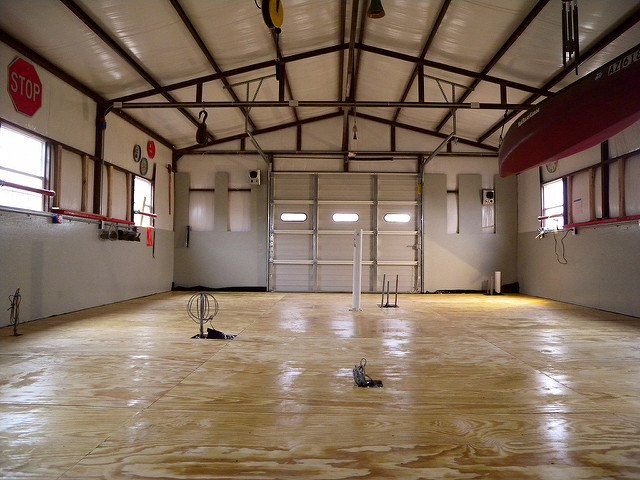 plywood, flooring, installing, warehouse