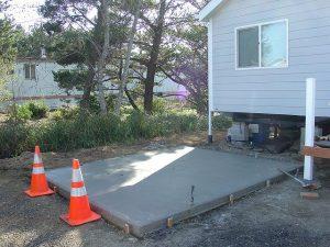 concrete, pouring, slab, house, yard