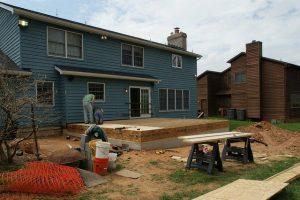 installing, plywood, subfloor, workers, house