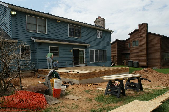 installing, plywood, subfloor, workers, house