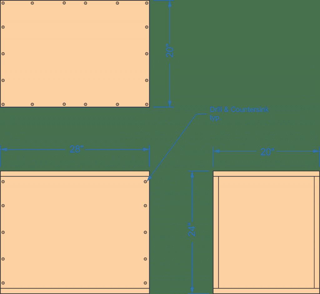 diy,plyo,box,drill and countersink