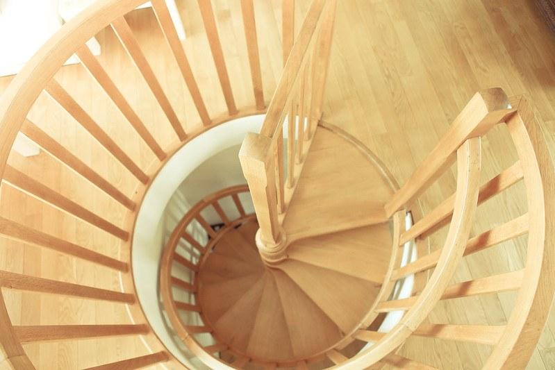 spiral staircase, wooden