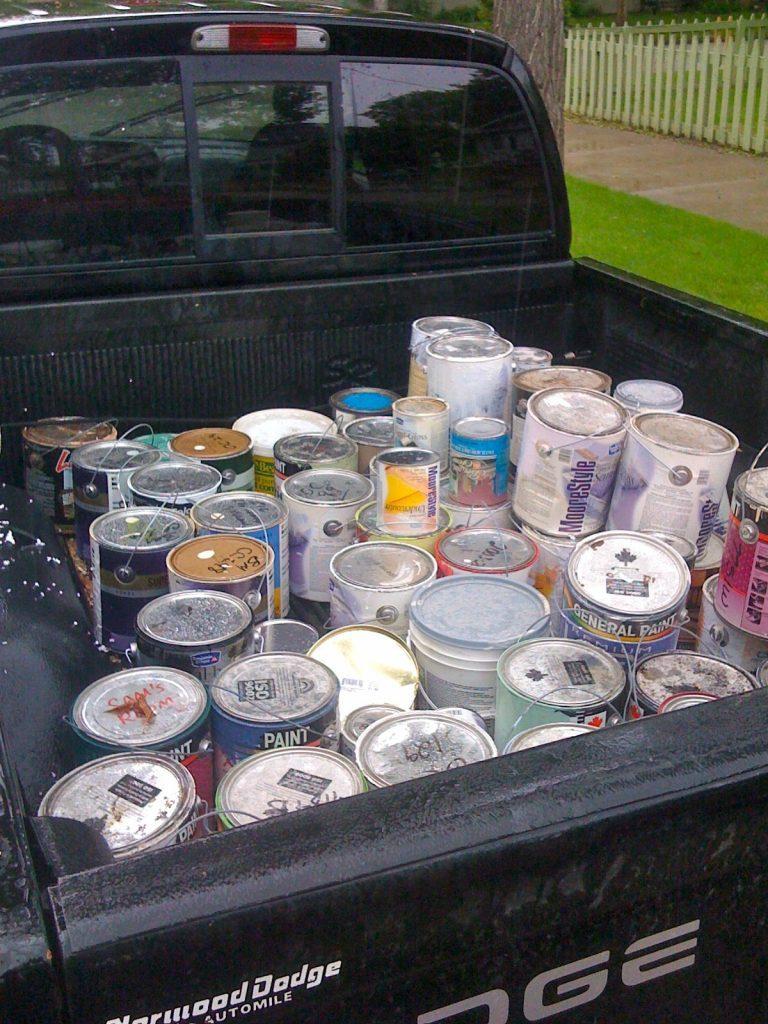 paint cans,car