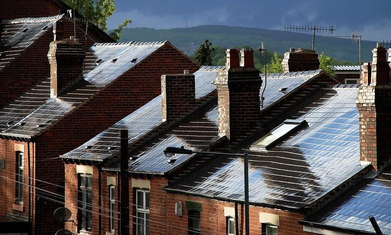 raining, roof, houses