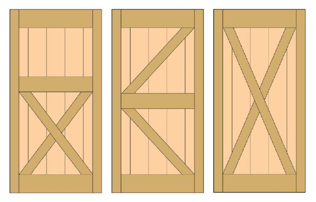 different styles of barn doors, crossbars