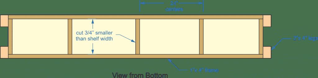 garage shelf, shelf width, frames, legs