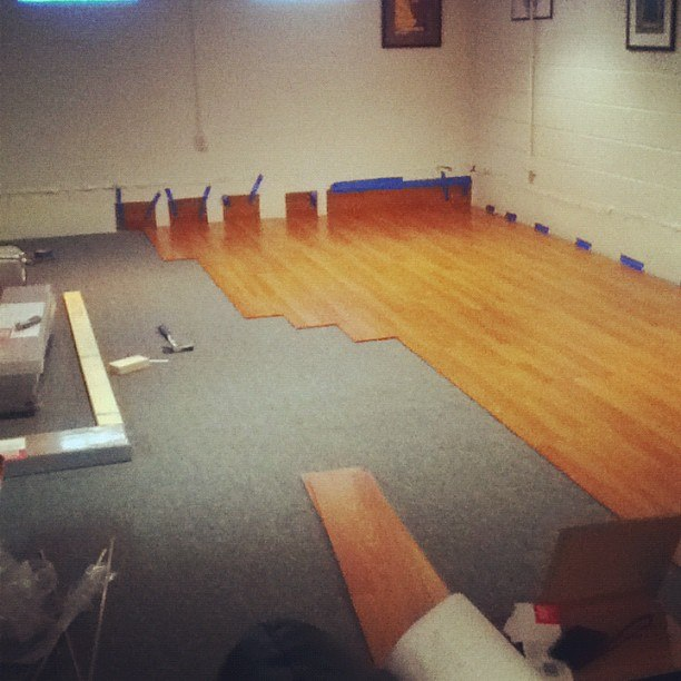 diy, installing dance floor