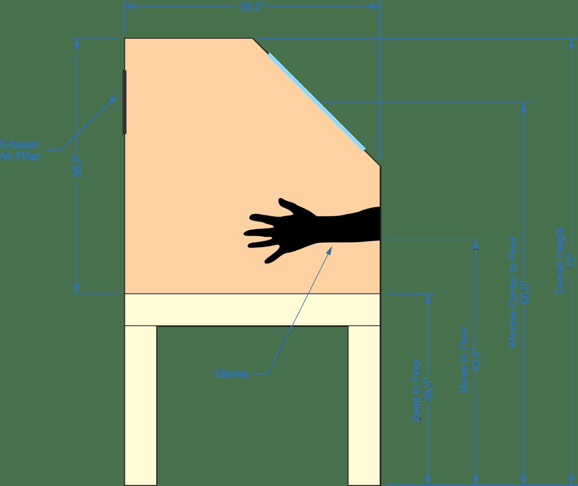 exhaust air filter, gloves, base to floor, glove to floor, window center to floor, overall height