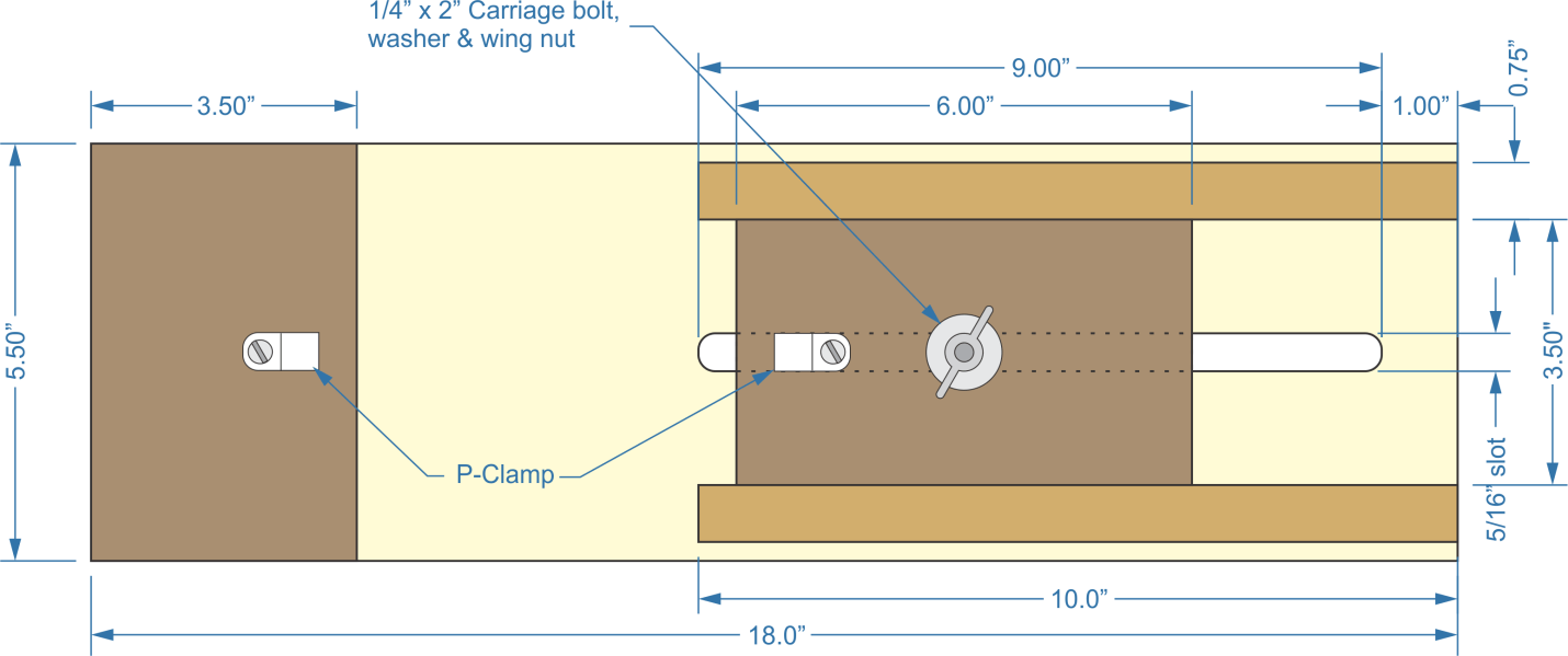 paracord bracelet jig dimensions, carriage bolt, washer and wing nu, p-clamp