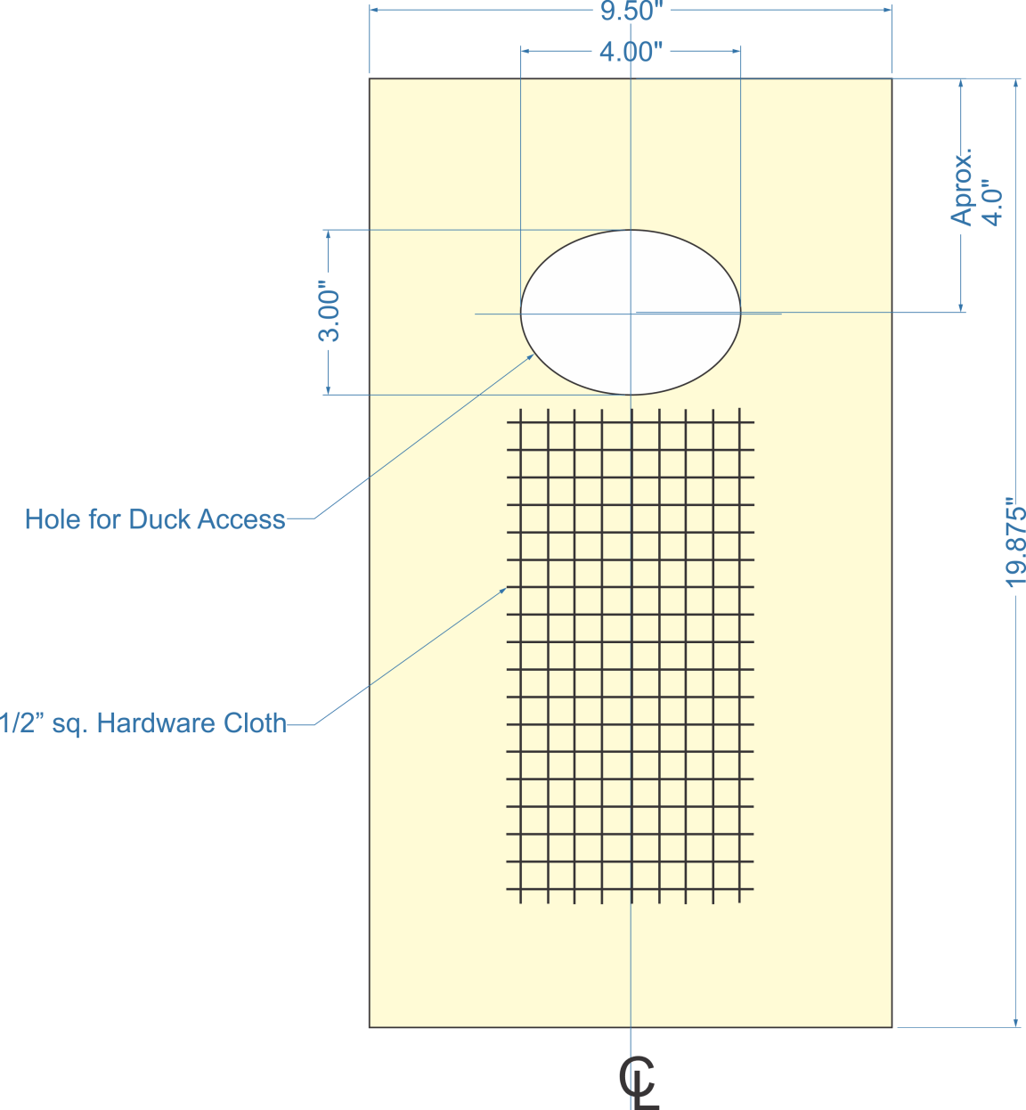 door dimensions, hole for duck access, hardware cloth