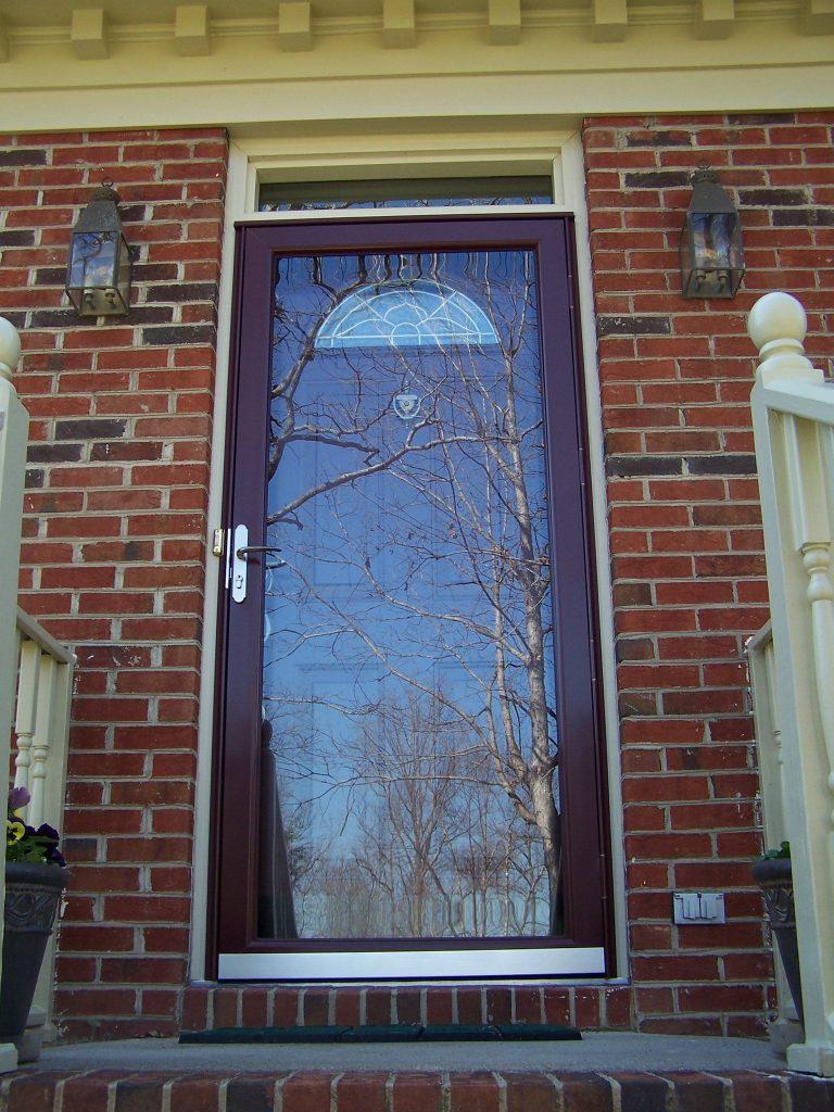 wood storm door, glass