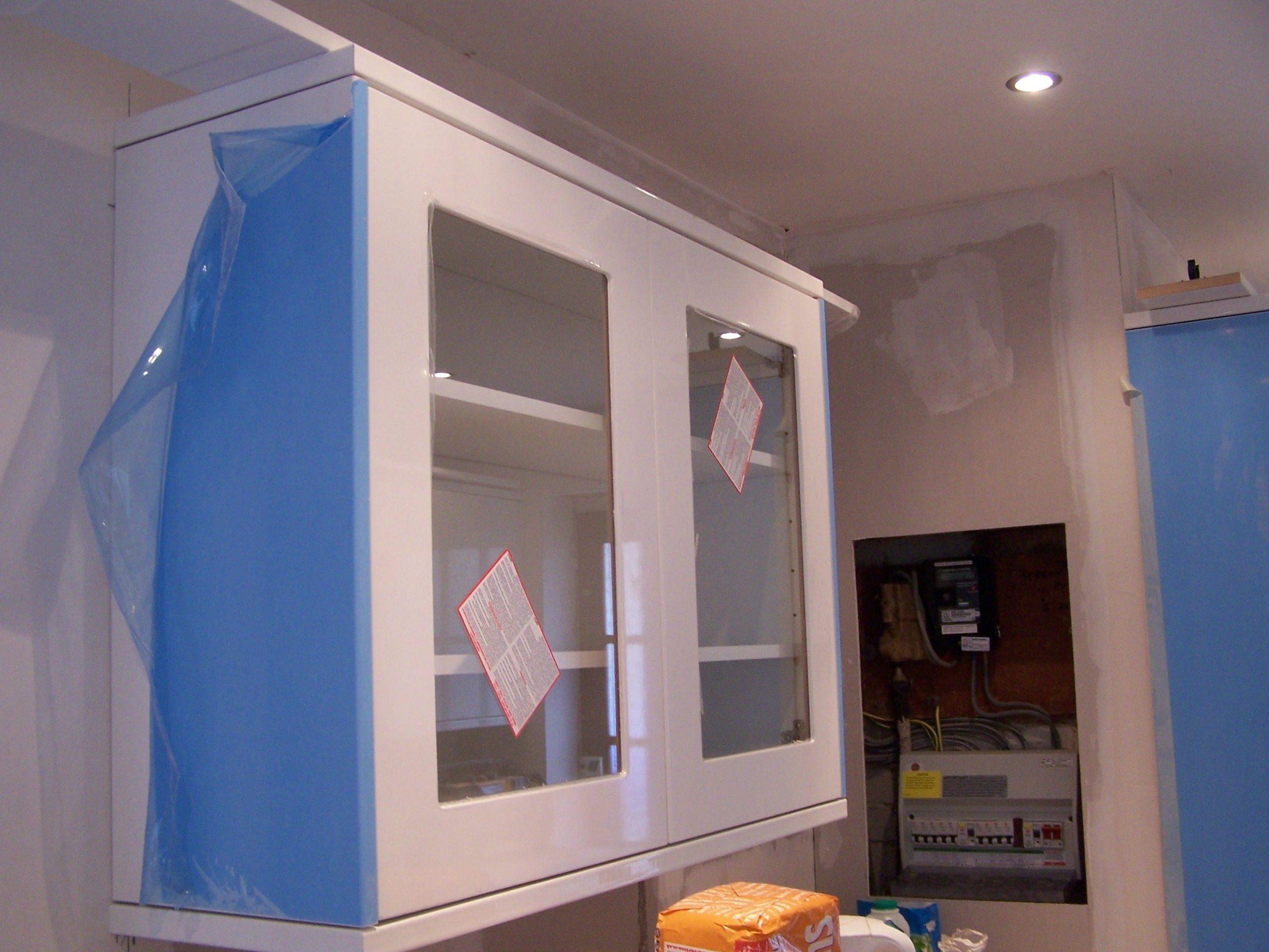 glass door, wall cabinets